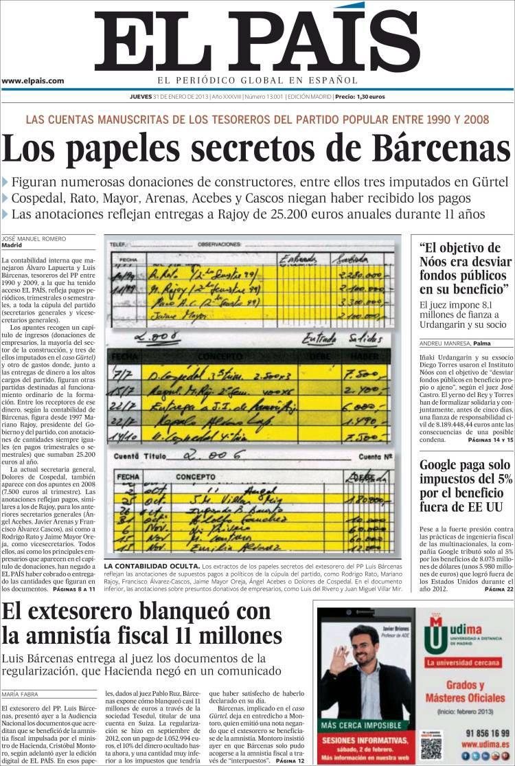 Papeles de Bárcenas publicados por EL PAÍS