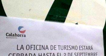 Cartel en la oficina de turismo de Calahorra