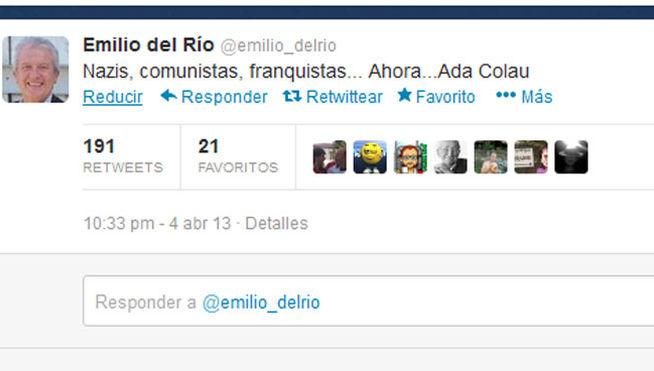 Tuit enviado por Emilio del Río